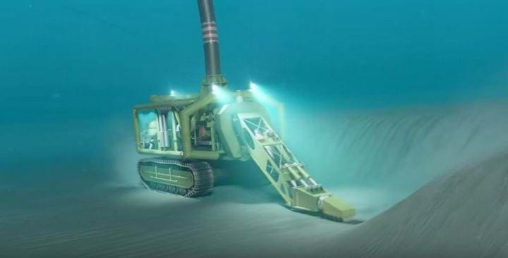 Artist's impression of subsea mining crawler