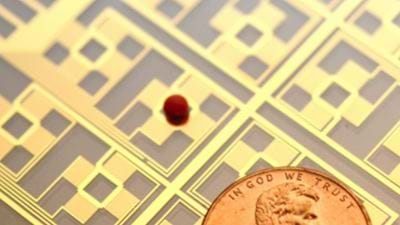 Lab-on-a-chip moves droplets via sound waves
