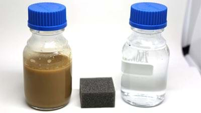 Innovative sponge for offshore oil drilling wastewater cleanup